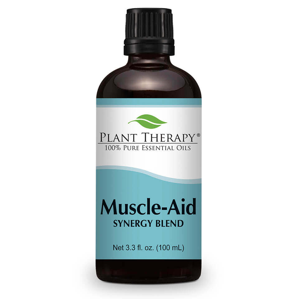 Muscle Aid Synergy Essential Oil 100 mL Here at Plant Therapy we know a thing or two about sore, achy muscles. We all want to look and feel our best, but we know there is  sometimes a price to pay.   Sore, achy muscles can happen to any of us, but with Muscle Aid Synergy Blend we can help soothe those aches away  to help you get back to your workouts once again. Formulated by our Certified Aromatherapists and Robert Tisserand,  Muscle Aid is made with the 100% pure, undiluted essential oils creating a powerful synergy of soothing goodness ideal for sore, achy muscles.   The aroma alone with its minty, herbaceous freshness has a calming, cooling effect, but used topically on sore muscles and you will be back at the top of your game once again!