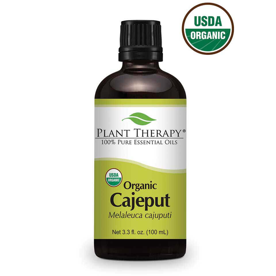Cajeput Organic Essential Oil 100 mL Cajeput, in the same family as Tea Tree oil, has a stimulating aroma and has been used for occasional skin eruptions on the lips. It can also be used to help  with the cramping associated with menstruation. Cajeput essential oil can also help relieve the symptoms caused by seasonal illness. Diluted Cajeput can help soothe skin that has been in contact with outdoor annoyances.