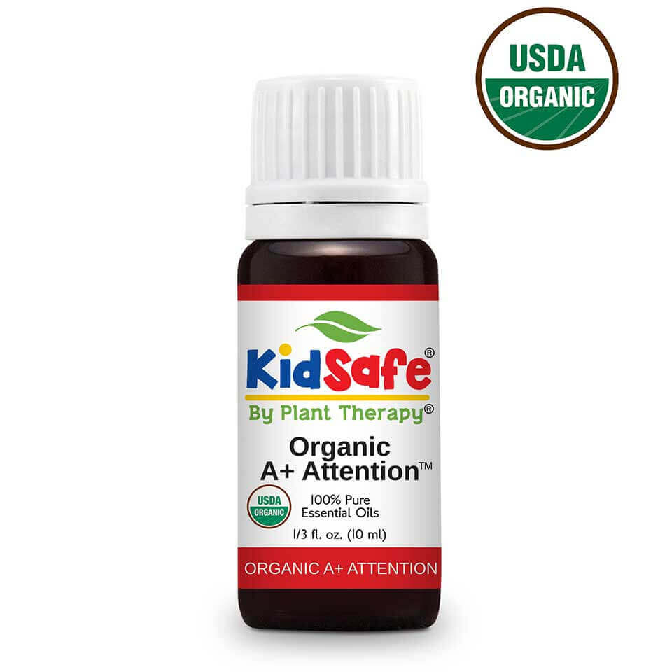 A+ Attention KidSafe Organic Essential Oil 10 mL At Plant Therapy we know how hard keeping focused can be, but it can be just as distracting for your children. There are times when your kids need all the help they can get to keep their minds clear in order to concentrate. That's when Organic A+ Attention can come in to help your child out.  This incredible synergy is created using the pure, undiluted KidSafe essential oils that are USDA Certified Organic of Petitgrain, Bergamot, Cedarwood Atlas, Grapefruit Pink, Lavender,  and Vetiver.  The balancing and calming USDA Certified Organic oils that are used to create Organic KidSafe A+ Attention are the perfect combination that help keep kids on the right track when their  focus is needed for a specific task. Keep your child focused using Organic A+ Attention, and the task at hand will seem like a breeze!