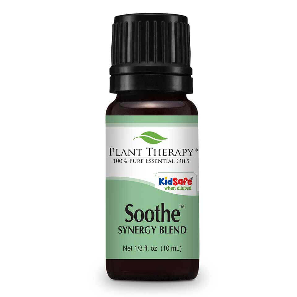 Soothe Synergy Essential Oil 10 mL Soothe contains essential oils that help smooth disturbed skin integrity and relieve reddened skin. Many potential irritants come in contact with our skin every day, such as soaps, fabric dyes, shampoos, cosmetic preservatives and pigments, nickel, wool and environmental pollutants;  even diet can play a role. For some people, skin sensitivities are an everyday challenge.     For another KidSafe, try our fantastic companion KidSafe synergy blend -  Skin Soother .