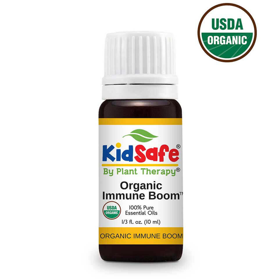 Immune Boom Organic KidSafe Essential Oil 10 mL Our children's immune systems take a beat upon daily  from the impurities they face every day, from everywhere.  The threats they come into contact with all year long can be a reason to worry, but with Organic Immune Boom around you can create a protective  barrier for your children against those threats.   Organic Immune Boom contains 100% pure,  undiluted USDA Certified Organic essential oils, blended together to help keep your little one's immune system in top gear and fight off impurities  that are floating around. Help keep your kids healthy all season long by using Organic Immune Boom!   For older children and adults,  check out our Organic Immune Aid  or   Immune Aid .