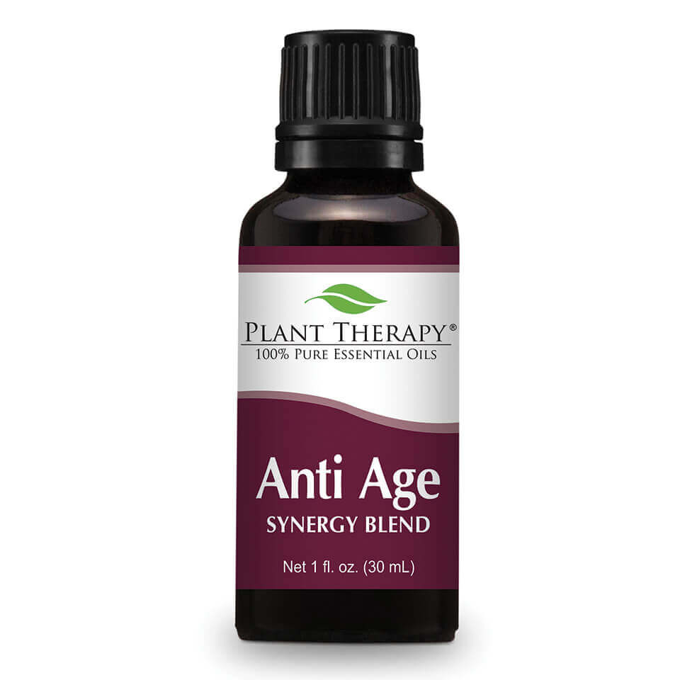 Anti Age Synergy Essential Oil 30 mL Plant Therapy's Anti Age Synergy was formulated by Robert Tisserand to help reduce the effects of time on the skin, such as fine lines, patchy pigmentation and loss of elasticity.  Anti Age Synergy harnesses the power of natural essential oils such as skin balancing Palmarosa, soothing Copaiba, and skin-smoothing Rose Absolute.    Factors such as sun exposure, dry weather, smoking, poor nutrition, and dehydration can worsen the problem. But even if we can't turn back the hands of time,  using our Anti Age Synergy can help slow the signs of aging in the skin.