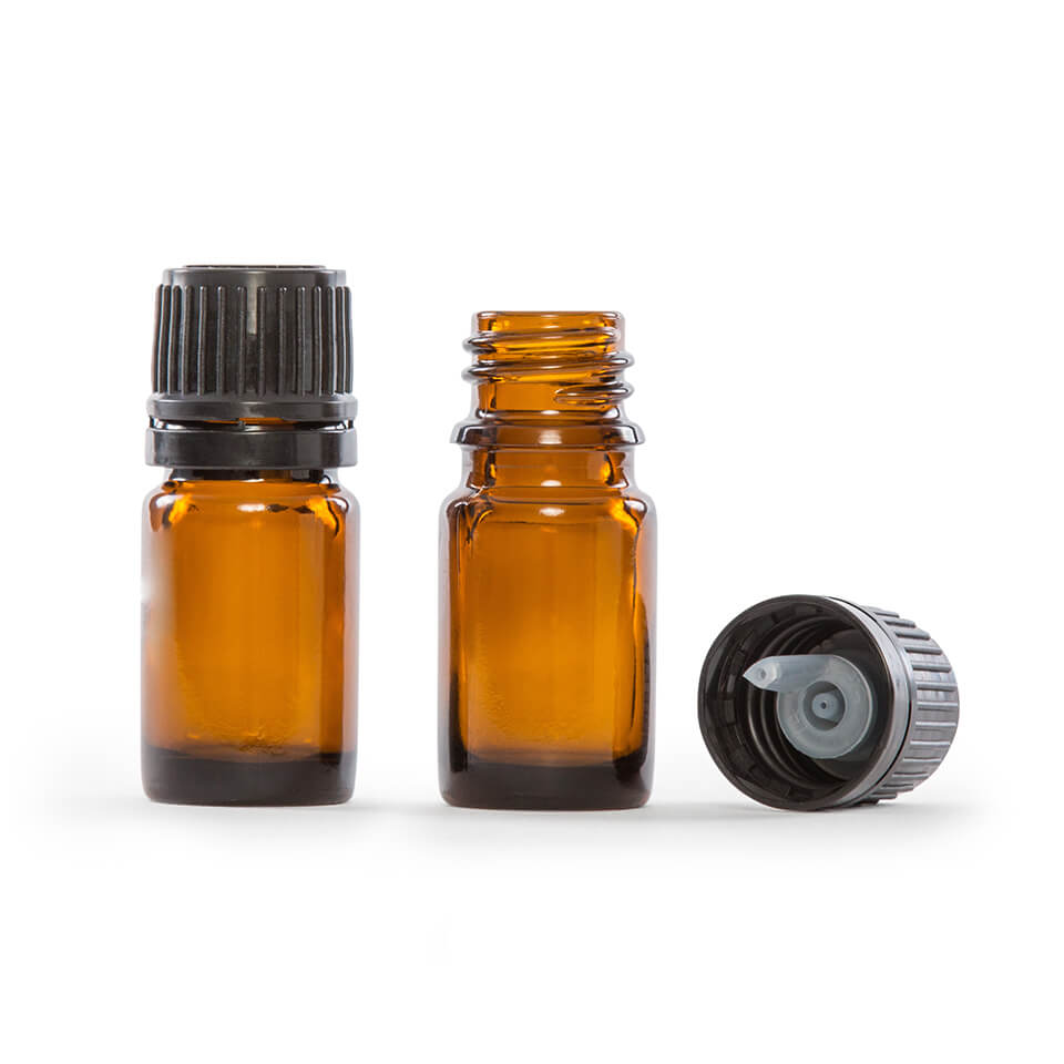 5ml 1 6 Fl Oz Amber Glass Essential Oil Bottle With