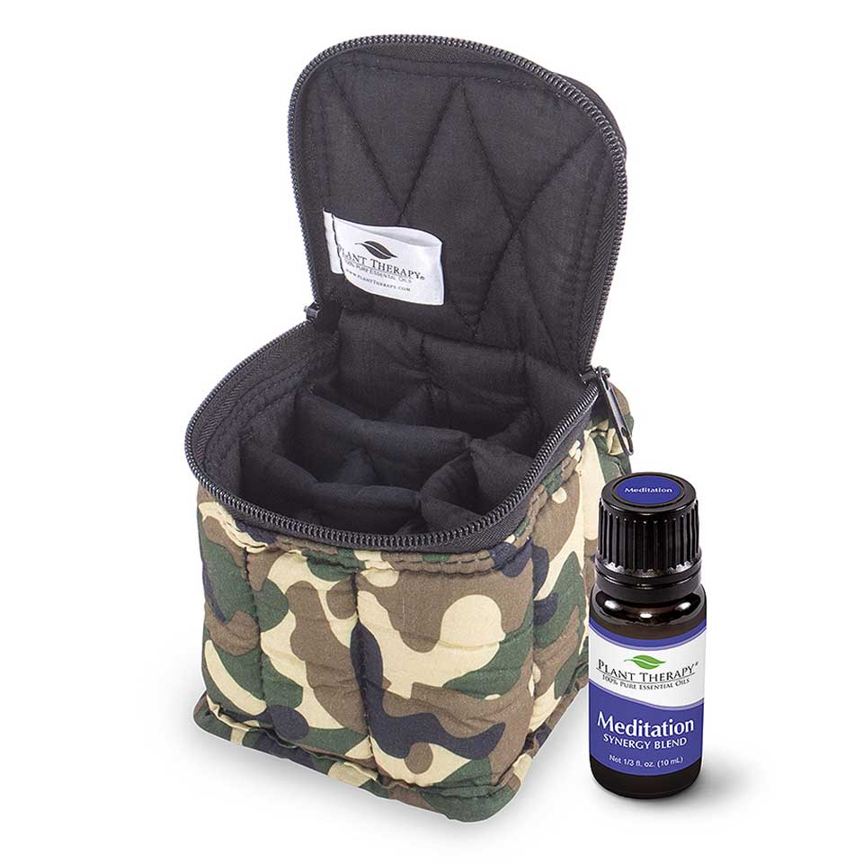 Ultimate Bundle  Meditation Synergy 10 ML & Soft Essential Carrying Cases 9 bottle (Camouflage / Bla