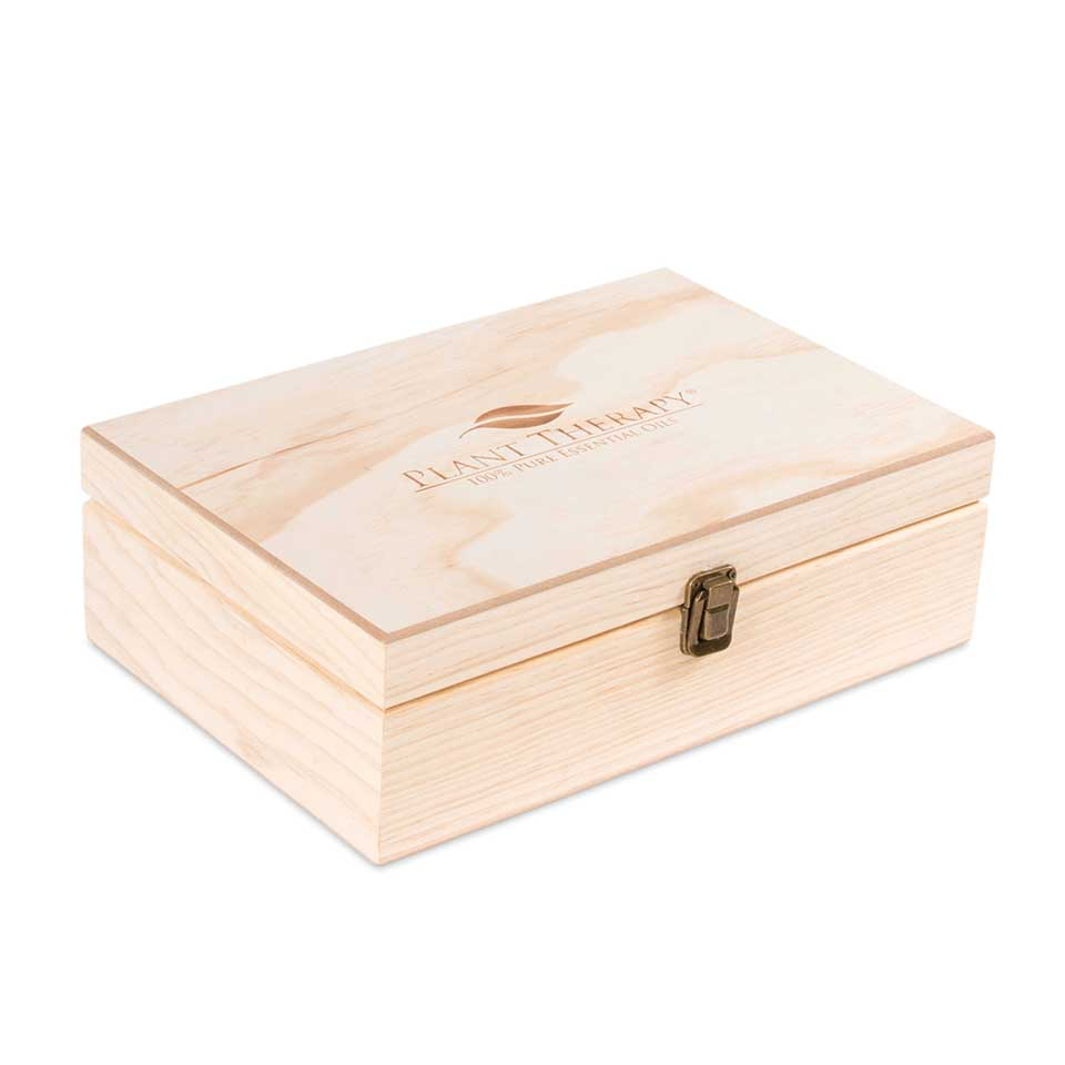 55 Count (Plant Therapy Logo) Wooden Essential Oil Organizer Storage Box (Various Bottle Sizes)