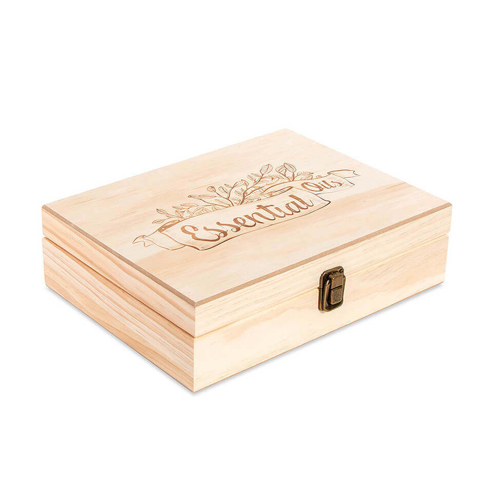 48 Count (essential Oil Logo) Wooden Essential Oil Organizer Storage Box (5 Ml  10 Ml  15 Ml Bottles