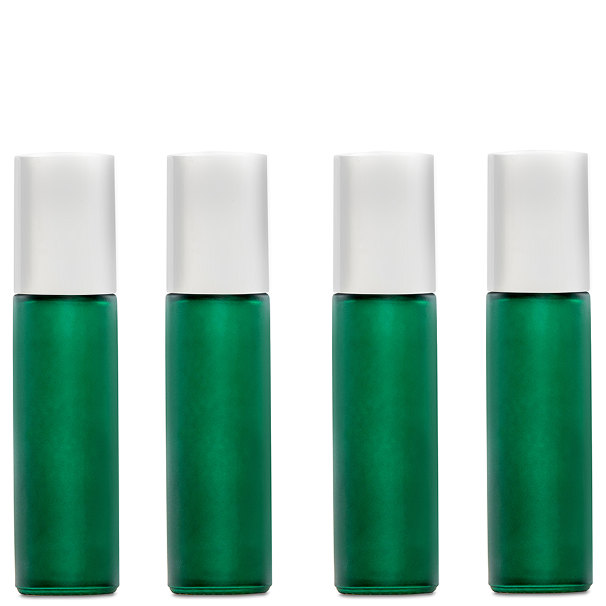 10ml (1/3 fl oz) Green Frosted Glass Essential Oil Roll-On Bottles 4 Pack
