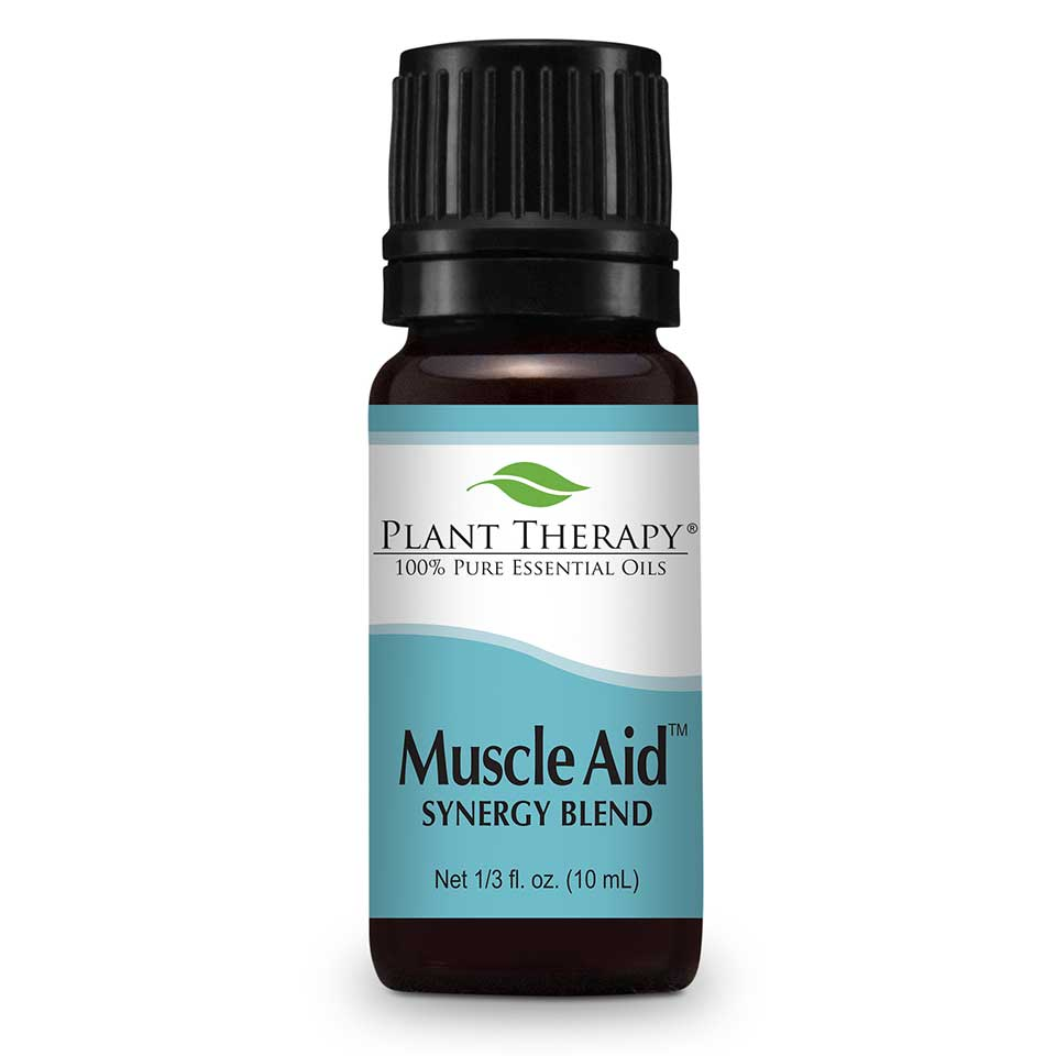 Muscle Aid Synergy Essential Oil 10 mL Here at Plant Therapy we know a thing or two about sore, achy muscles. We all want to look and feel our best, but we know there is  sometimes a price to pay.   Sore, achy muscles can happen to any of us, but with Muscle Aid Synergy Blend we can help soothe those aches away  to help you get back to your workouts once again. Formulated by our Certified Aromatherapists and Robert Tisserand,  Muscle Aid is made with the 100% pure, undiluted essential oils creating a powerful synergy of soothing goodness ideal for sore, achy muscles.   The aroma alone with its minty, herbaceous freshness has a calming, cooling effect, but used topically on sore muscles and you will be back at the top of your game once again!