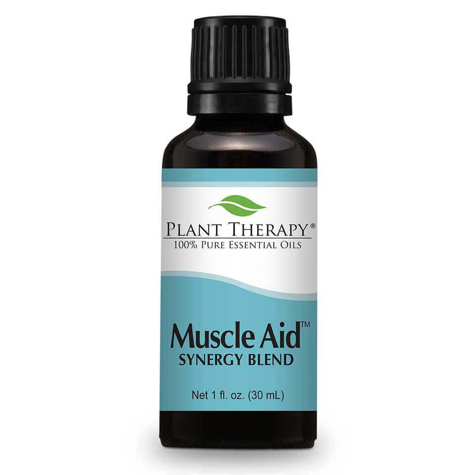 Muscle Aid Synergy Essential Oil 30 mL Here at Plant Therapy we know a thing or two about sore, achy muscles. We all want to look and feel our best, but we know there is  sometimes a price to pay.   Sore, achy muscles can happen to any of us, but with Muscle Aid Synergy Blend we can help soothe those aches away  to help you get back to your workouts once again. Formulated by our Certified Aromatherapists and Robert Tisserand,  Muscle Aid is made with the 100% pure, undiluted essential oils creating a powerful synergy of soothing goodness ideal for sore, achy muscles.   The aroma alone with its minty, herbaceous freshness has a calming, cooling effect, but used topically on sore muscles and you will be back at the top of your game once again!