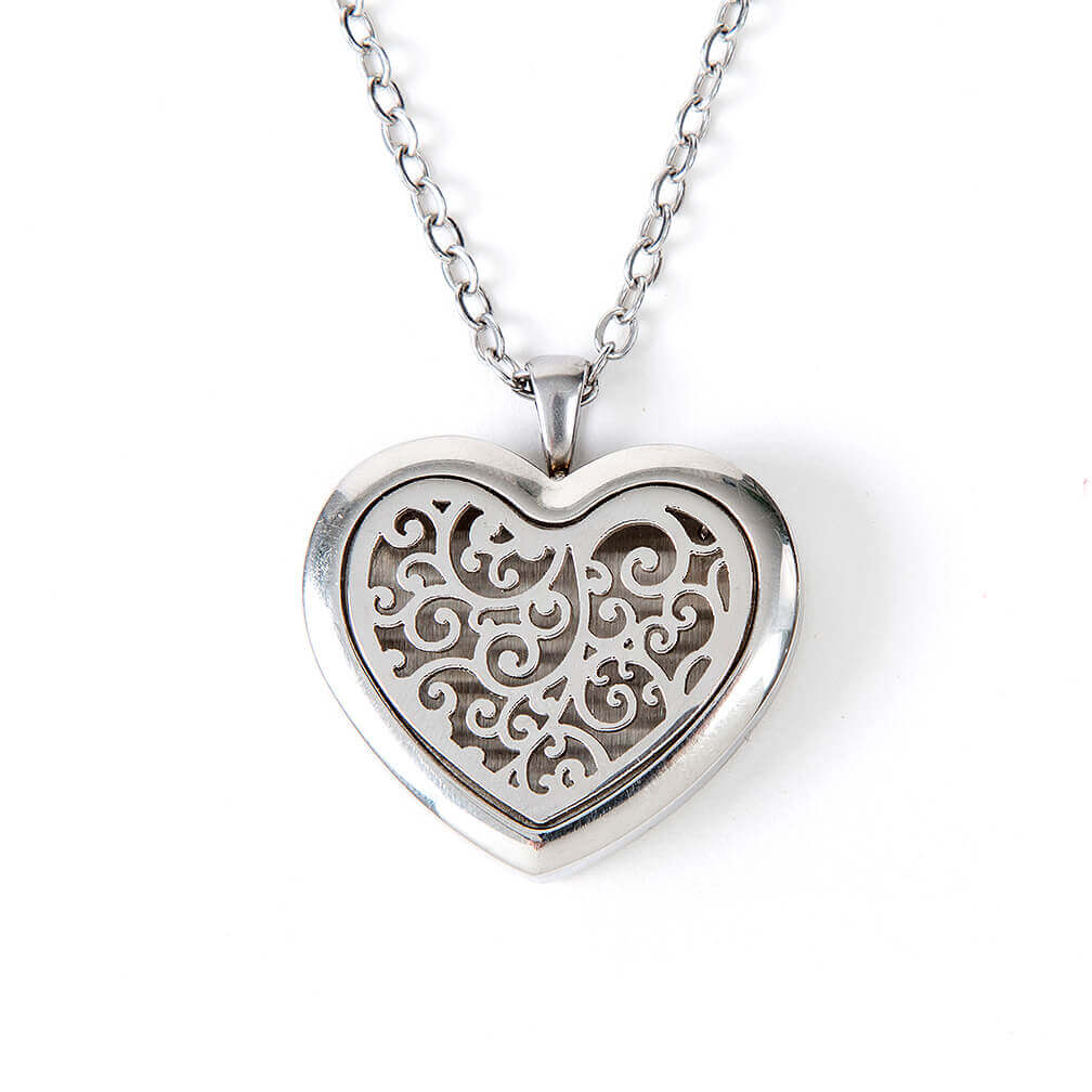 Aromatherapy Diffuser Locket - Silver Heart