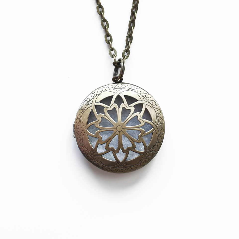 Essential oil necklaces aromatherapy jewelry aromatherapy diffuser locket antique bronze large round aloadofball Gallery