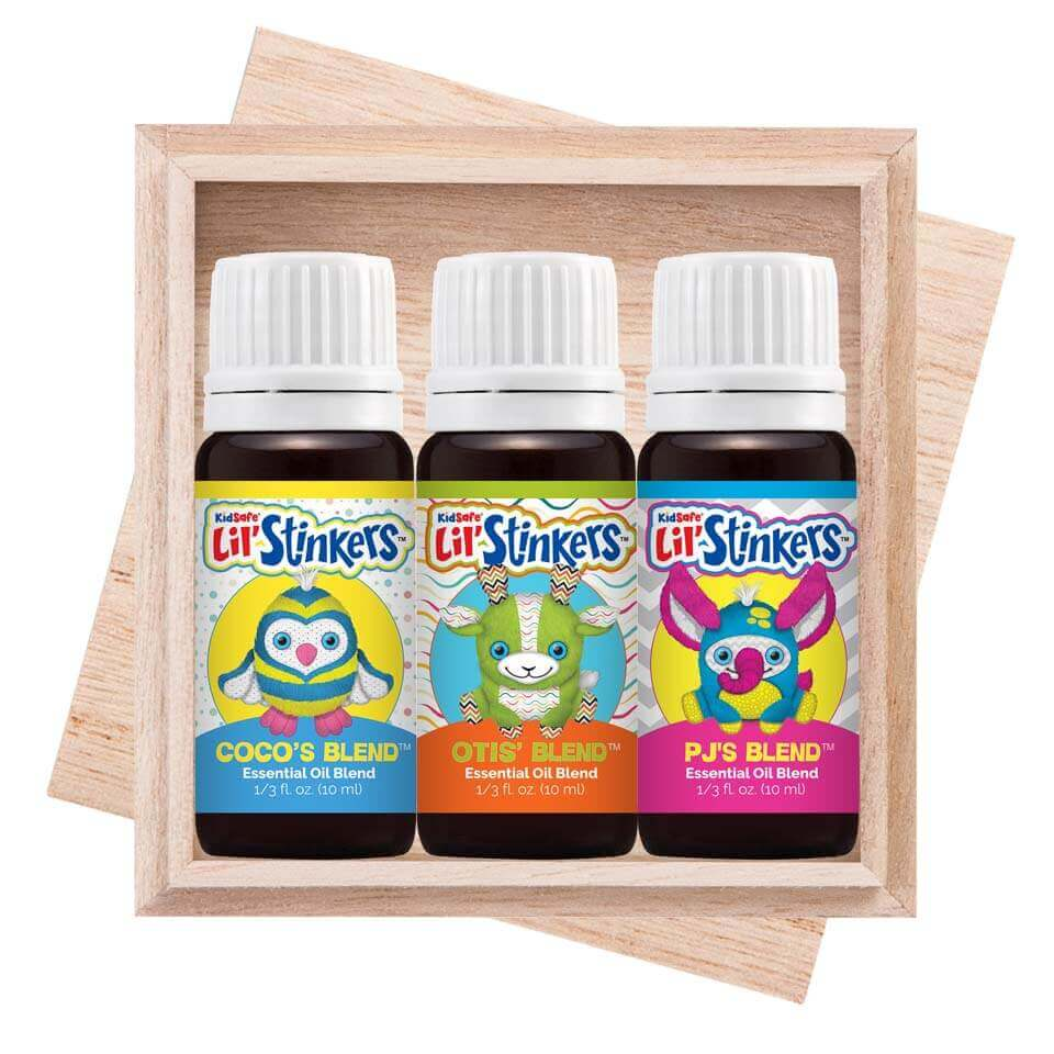 Lil' Stinkers Signature Blends Set Bring joy, comfort and hugs to your favorite little one with the KidSafe®  Lil' Stinkers™ Set.     This set includes all three 10 mL bottles of these special-edition KidSafe® essential oil blends. Kids love the cheerful, fruity scent of  PJ's Blend.      They'll find comfort in the sweet lemony cookie aroma of  Otis' Blend .    And, they'll never tire of the delightful minty fresh scent of  Coco's Blend .   The Lil' Stinkers™ blends are perfect for use with their companion Lil' Stinkers™ collectible aroma plush™ animals.  The Lil' Stinkers™ plush toys each have a Safety Scent Cartridge™ that allows children to safely snuggle up while inhaling their favorite scent.