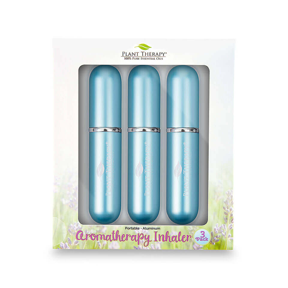 Teal Aromatherapy Inhalers - Pack of 3 Lightweight and stylish, the 3-Pack Aromatherapy Inhalers are available in three different colors: teal, purple, and grey.   Besides being a great gift for any essential oil user, you can keep your beloved oils with you everywhere you go with these sleek, stylish Aromatherapy Inhalers.   Tote one in your purse or laptop case, stash in desk drawer at work, or share with a friend!