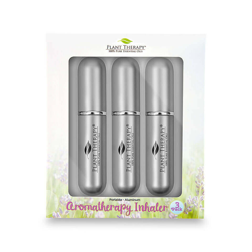 Grey Aromatherapy Inhalers - Pack of 3 Lightweight and stylish, the 3-Pack Aromatherapy Inhalers are available in three different colors: teal, purple, and grey.   Besides being a great gift for any essential oil user, you can keep your beloved oils with you everywhere you go with these sleek, stylish Aromatherapy Inhalers.   Tote one in your purse or laptop case, stash in desk drawer at work, or share with a friend!