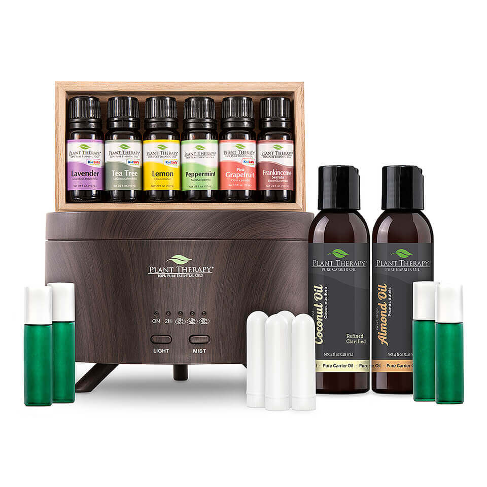 Essential Oil Starter Set with Aromafuse Diffuser - Wood Grain