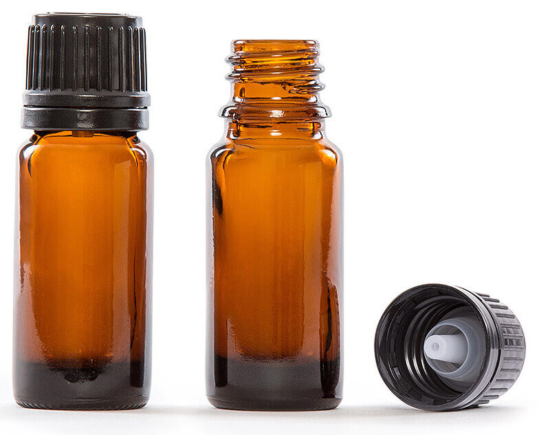 10ml (1/3 fl oz) Amber Glass Essential Oil Bottle with European Dropper Cap. Pack of 4