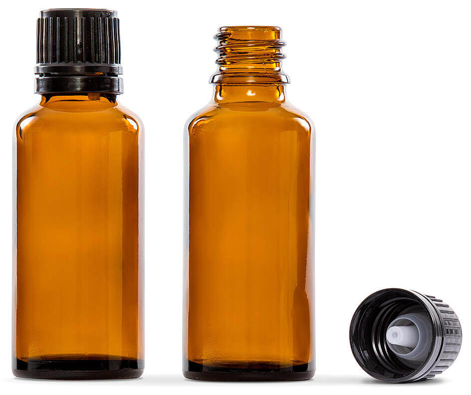 30ml (1 fl oz) Amber Glass Essential Oil Bottle with European Dropper Cap- 4 Pack