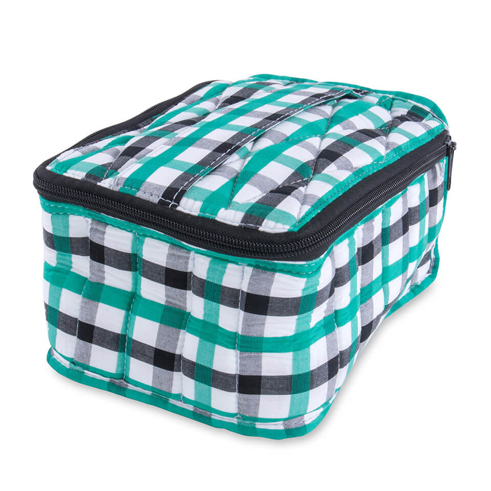 Soft Essential Oils Carrying Cases 30 bottle Black White and Teal Gingham / Grey