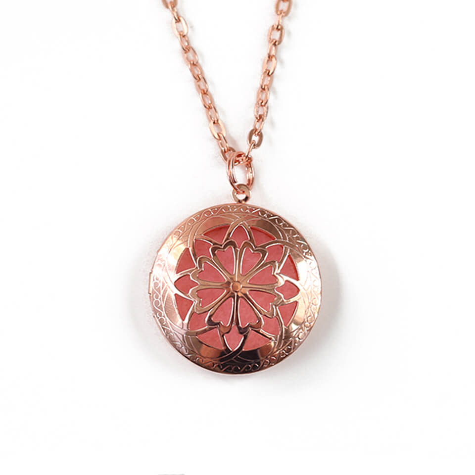 Aromatherapy Diffuser Locket Necklace for Essential Oils - Large Round Rose Gold
