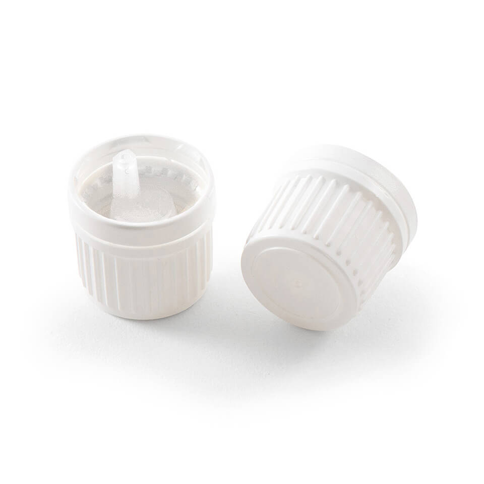 12 Pack of Essential Oil Bottle Caps w/ Orifice Reducing Euro Droppers (White)