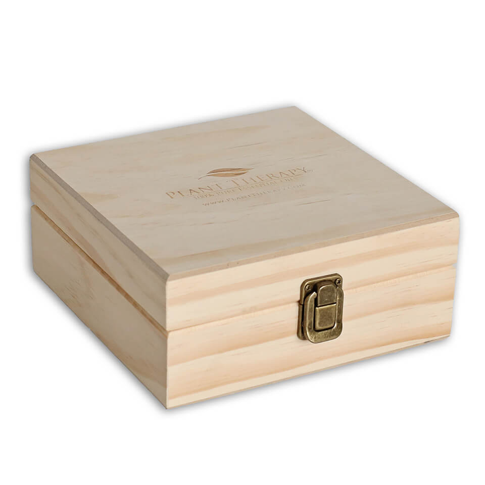 25 Count (Plant Therapy Logo) Wooden Essential Oil Organizer Storage Box (5-15 ml Bottles)